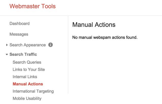 manual actions webmastertools
